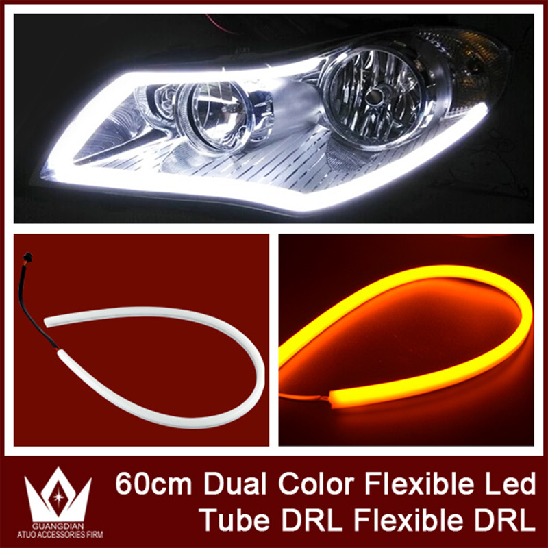 High Quality 1 set 60cm White Dual Color Flexible Tube Led Headlight Strip DRL Daytime Running Light Decorative Lamp For Audi 2017 2pcs 30cm led white car flexible drl daytime running strip light soft tube lamp luz ligero new hot drop shipping oct10