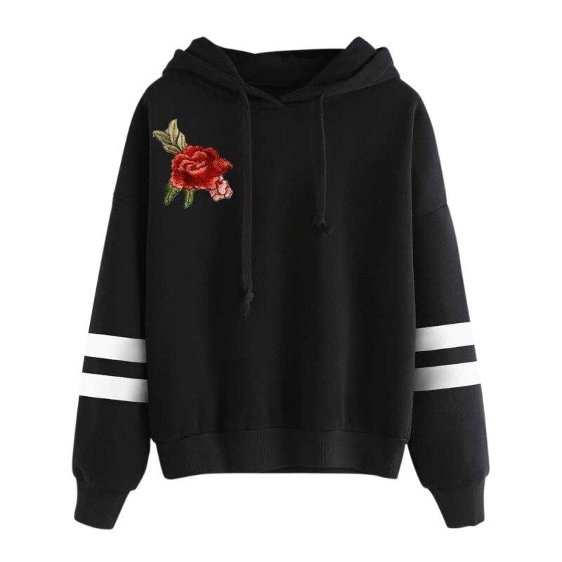 Новое поступление Замечательный Повседневное в полоску пуловер с капюшоном Блузка женская Вышивка аппликация с длинным рукавом