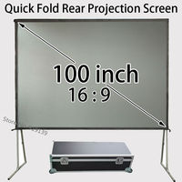 Moveable 100inch 16:9 Fast Open Rear Projector Screen 87x49inch Watching Space For Music DJ Party