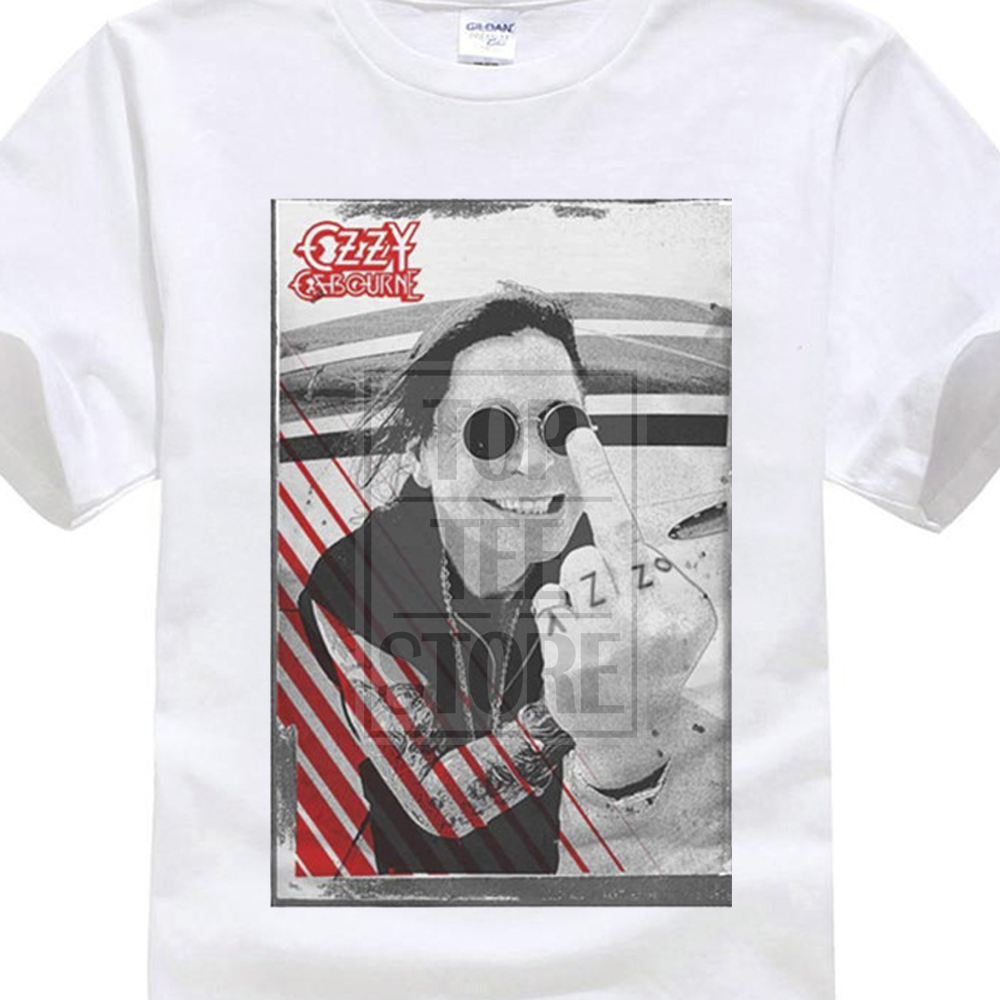 2017 Newest MenS Ozzy Osbourne Middle Finger T Shirt Crazy Train Live Scream Red Cross Printed T Shirt Cool Tops Novelty Tee