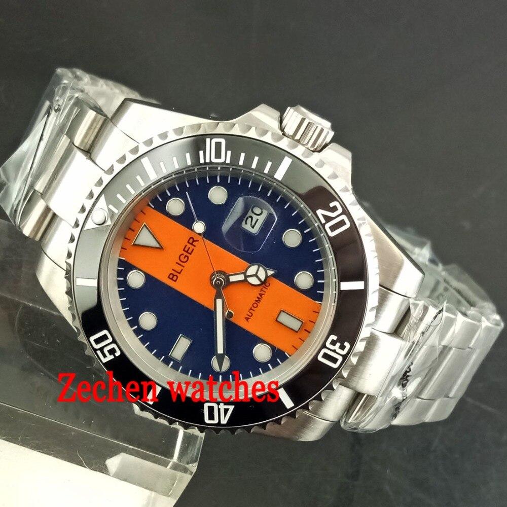 BLIGER 40mm Luminous Sapphire Automatic Steel Case Mens Watch Wristwatch цена и фото