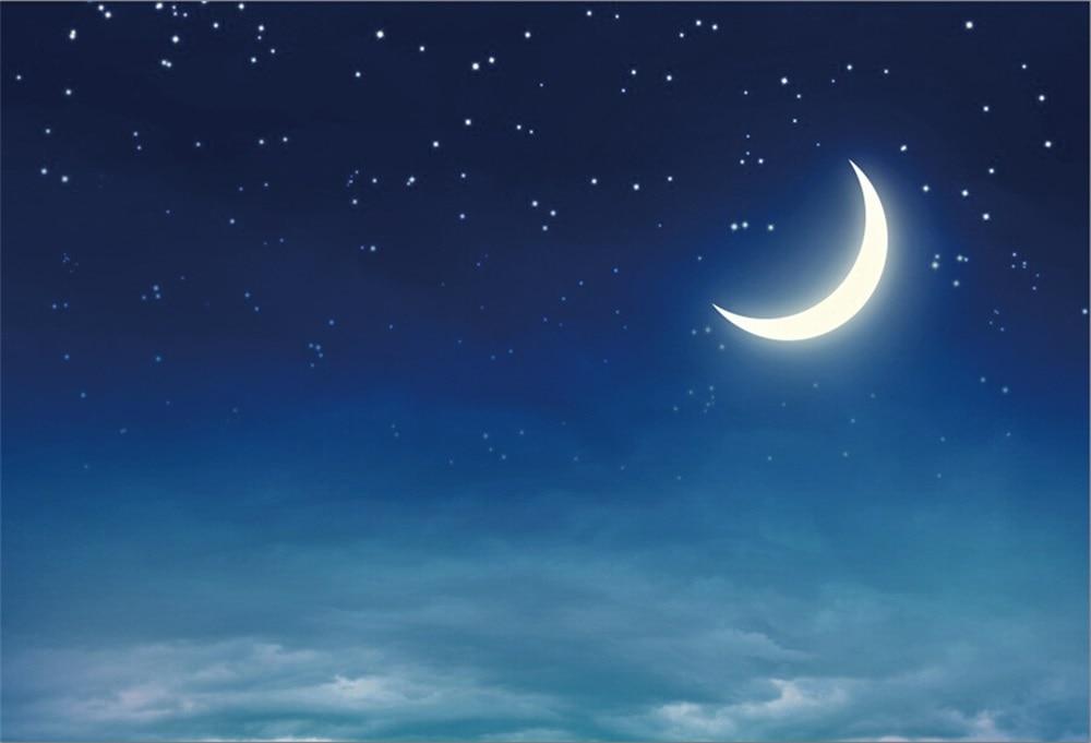 Открытка с луной и звездами