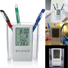 Hot Transparent Pen Holder LCD Digital Alarm Clock Desk Pencil Pen Holder Organizer Thermometer Calendar