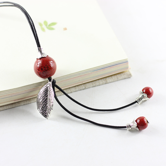100 handmade women ceramic long necklace fashion simple style 100 handmade women ceramic long necklace fashion simple style retro alloy leaves ceramic bead jewelry mozeypictures Gallery