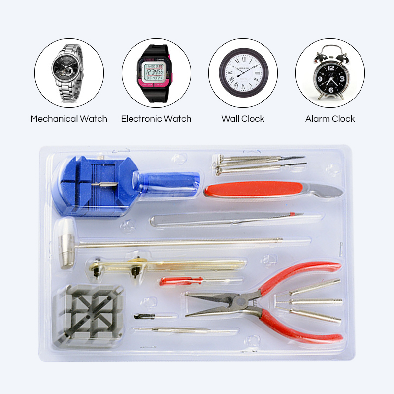 16 pcs Watch Repair Tool Kit Wrist Strap Adjust Band Pin Strap Link Remover Fix Back Opener Remover Hand Tools Sets Hand Tool Sets     - title=
