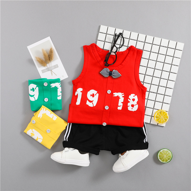 Summer Kids 2Pcs Clothes Set Baby Boy Girl Digital Printed Vest + Shorts Sports Suit 2018 Children Outfits Clothing Set