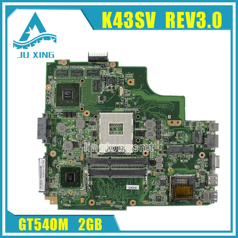 For Asus K43SJ K43SV A43S X43S Laptop motherboard HM65 N12P-GS-A1 REV3.0 GT540M 2GB 8 Memory DDR3 VRAM Main board 100% tested brand new pbl80 la 7441p rev 2 0 mainboard for asus k93sv x93sv x93s laptop motherboard with nvidia gt540m n12p gs a1 video card