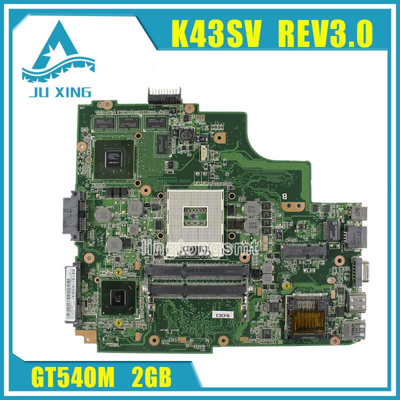 For Asus K43SJ K43SV A43S X43S Laptop motherboard HM65 N12P-GS-A1 REV3.0 GT540M 2GB 8 Memory DDR3 VRAM Main board 100% tested k43sv laptop motherboards fit for asus a43s x43s k43sj a43sv k43sv k43sm series motherboard gt540m