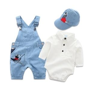 Image 1 - Newborn Clothes Toddler Boy Hat Romper Clothing Baby Set 3PCS Cotton Bib Long sleeved Jumpsuit Suit Boys Fashion Outfit 3 6 24M