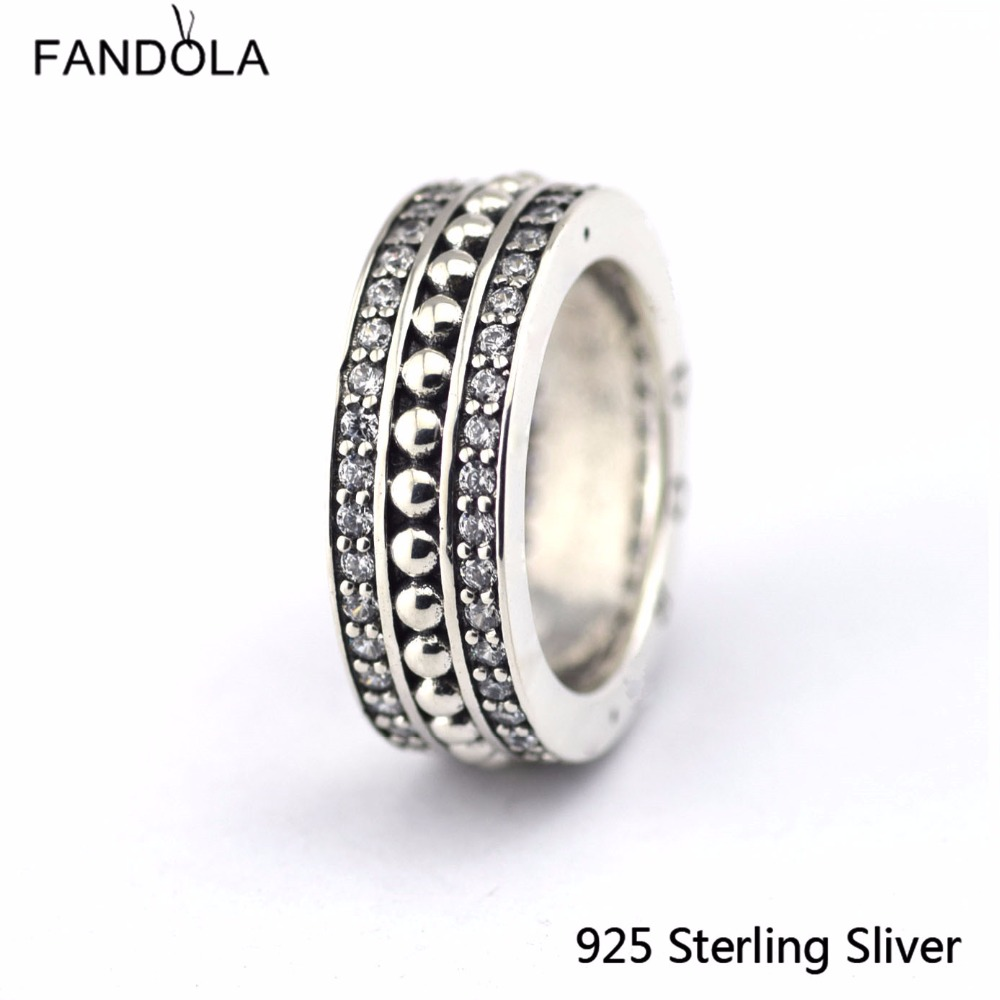 Original 925 Sterling Silver concise, Clear CZ Charms Ring Fit With Other Jewelry Fashion Charms For Women
