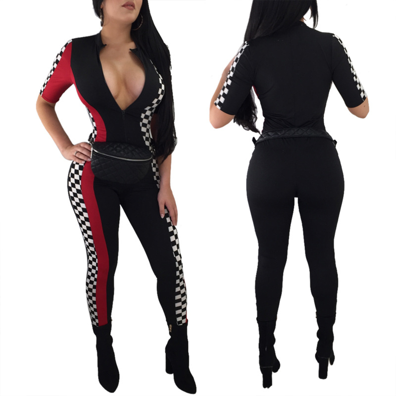 e9d413d423 Plaid Print Rompers Womens Jumpsuit Sexy Deep V Neck Black Bodycon Jumpsuit  Summer Casual Racing Jumpsuits 2816-in Jumpsuits from Women s Clothing on  ...