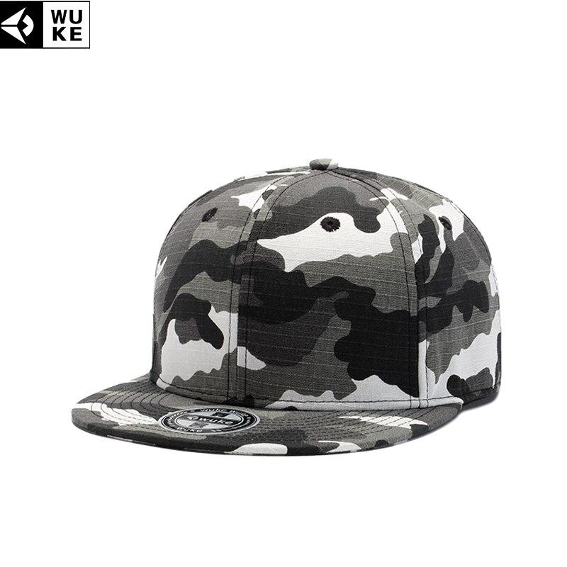 231a51c7d6b WUKE Army Camouflage Caps For Men Flat Brim Baseball Cap For Male Army  Style Hip-pop Hat Adjustable 55-61cm Men s Cap