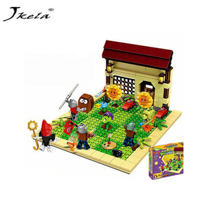 [Hot] 387Pcs New Ideas Plants Vs Zombies Struck Game Building Blocks set Toys Compatible With Children Action Christmas Plastic(China)
