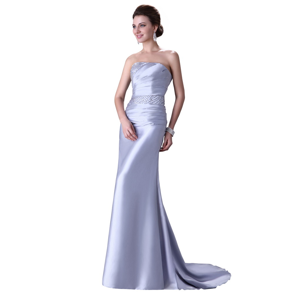 Elegant Long Silver Evening Dress Robe De Soiree Longue Padded ...