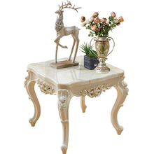 European-style sofa side table idyllic small square coffee table living room simple mini marble corner square carved side table стоимость