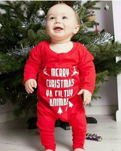2017 Newborn Christmas clothing lovely letter print baby boys girls red rompers 2017 christmas newborn baby boy girl romper long