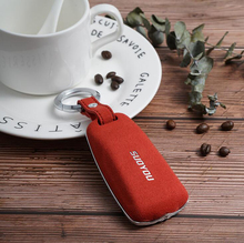 Fashion Luxury Car Key Case Cover Genuine Plush Leather Galvanized Alloy For AUDI Audi A4 A5 A6 Q7 TTS Red Black Brown Styling