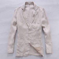 2017 New Style British Trend Linen Jacket Men Casual Suit 100 Flax Brand Clothing Business Suits