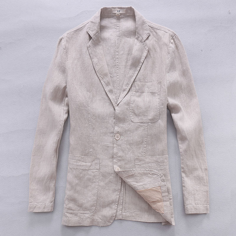 2017 Νέο στυλ Βρετανοί άνδρες σκουλαρίκια τσαντών υφασμάτων τάσης casual κοστούμι 100% λινά ρούχα εμπορικών ενδυμάτων μάρκας άνδρες μόδα σακάκι αρσενικό