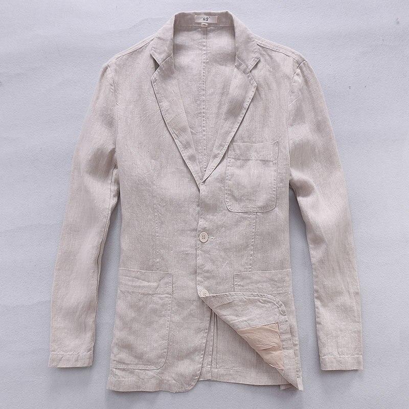 2017 nouveau style britannique tendance lin veste hommes décontractée costume 100% lin marque vêtements d'affaires costumes hommes mode blazer masculino-in Blazers from Vêtements homme    1