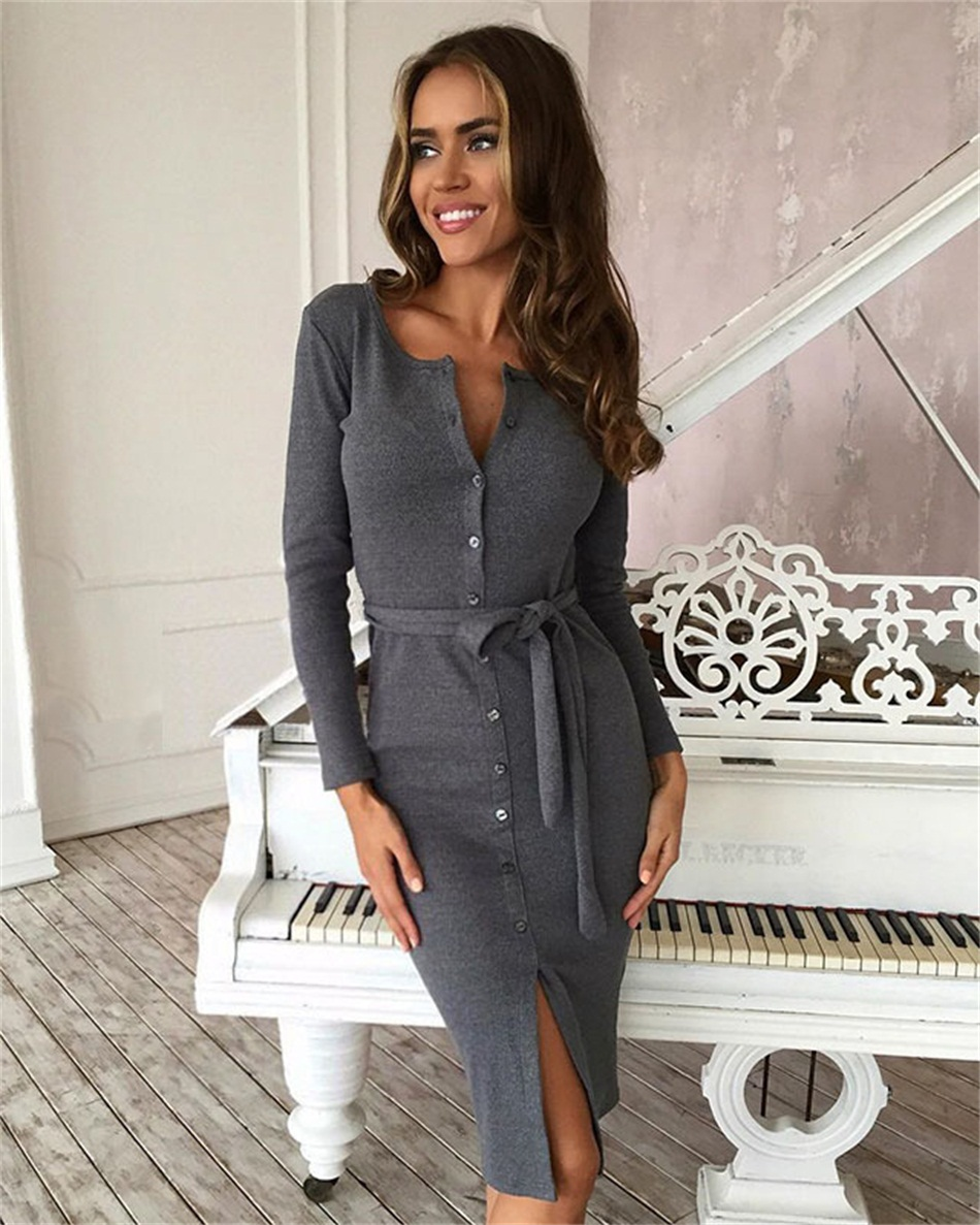 Casual Bodycon Party   Dress   Autumn Winter   Dress   Women Slim Long Sleeve Buttons   Cocktail   Knee-Length   Dress   Female   Dresses   Vestidos