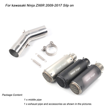 For kawasaki Ninja ZX6R Motorcycle Middle Pipe Link Exhaust Muffler Pipe Silp on 2009 2010 2011 2012 2013 2014 2015 2016 2017