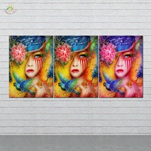 цена Picture And Poster Canvas Painting Modern Wall Art Print Pop Art Flower Make-up Girls Wall Pictures For Living Room 3 PIECES онлайн в 2017 году