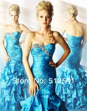 Trumpet Mermaid Prom Dresses Brand Sweetheart Organza Sleeveless Beads Ruffle Free Shipping yk-8K0p8