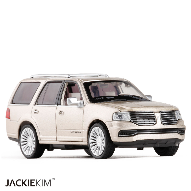 Brand New YJ 1/36 Scale Sound&Light Car Model Toys Lincoln Navigator SUV Diecast Metal Pull Back Car Toy For Gift/Kids
