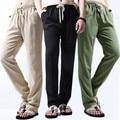 Plus Size XXXXL Superdimensionada Mens Casual Calça De Linho Verão Nova Moda Retas de Fitness Fino Outwear Preto Sólido Cor Da Calça Dos Homens