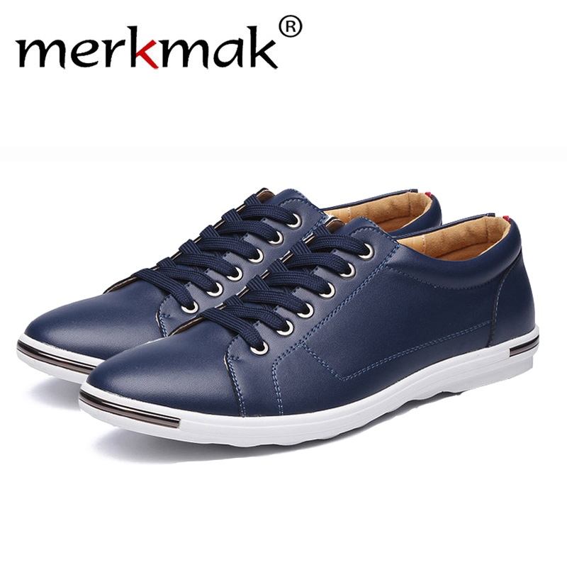 Merkmak Men Casual Shoes Classic Fashion Male Lace Up Flat Black White Red Yellow Comfortable Student Sneakers Footwear Dropship