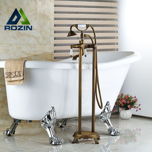 Floor Mount Dual Handles Bathtub Mixer Faucet Antique Brass Bathroom Free Standing Tub Mixer Taps