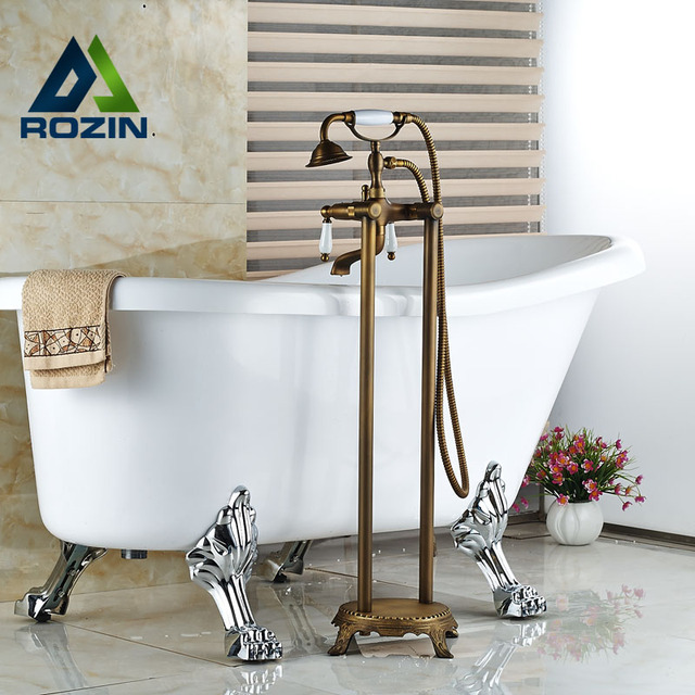 Floor Mount Dual Handles Bathtub Mixer Faucet Antique Brass ...