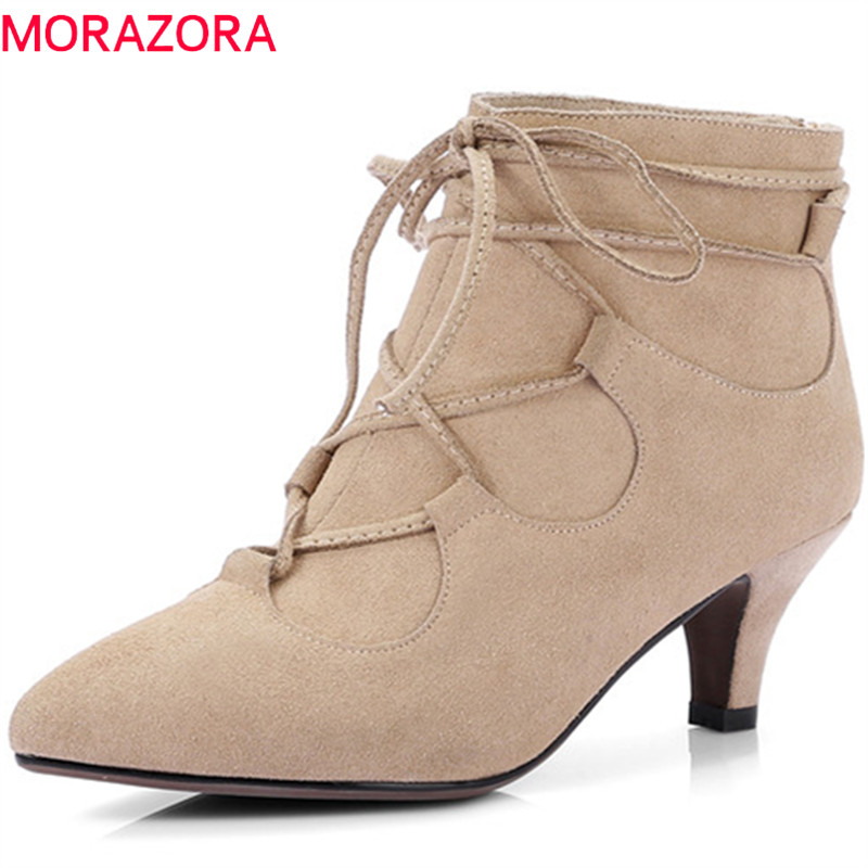 MORAZORA 2018 New arrive womens boots cow suede high heels shoes woman leather boots fashion party zip solid ankle boots morazora ankle boots for women fashion shoes woman cow suede leather boots solid zipper platform womens boots size 34 40
