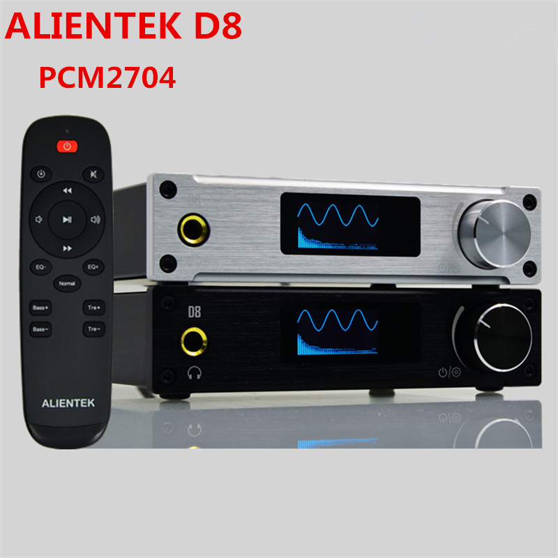Hot Amplifier Class D ALIENTEK D8 Full Pure Digital HiFi Stereo Amplifiers USB Coaxial Optical Audio Power Amplificador  PCM2704 scarlett sc hs60001 brown