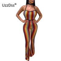 UZZDSS Colorful Striped Rompers Womens Jumpsuit Sleeveless Halter Backless Overalls For Women Sexy Boot Cut Club Jumpsuits Body