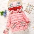 La edición de han de ropa de bebé niña ropa de algodón acolchado cálido invierno engrosamiento de algodón acolchado ropa de los niños chaqueta de invierno con capucha