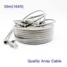50M 164ft Network Ethernet Cord Cable 5MM Power DC Cat5e RJ45 Combo Video/Power Lan Cable for for Array IP Camera NVR System
