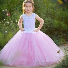 2017 Lovely Flower Girls Dresses Long Pink Scoop Backless Ball Gown Tulle Kids First Communion Dress Pageant Dress For Girl
