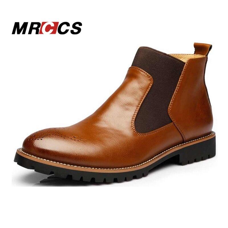 Mrccs весна/На зимнем меху Для Мужчин's Ботинки Челси, британский стиль Модные ботильоны, черный/коричневый/красный броги мягкие Повседневная кожаная обувь