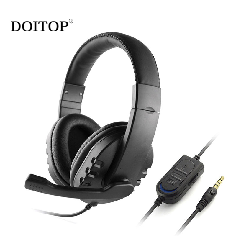 DOITOP 3.5mm Wired Gaming Headset Headphone With Mic Microphone For PS4 XBOX ONE Universal Bass Music PC Game Chat Earphones A3 vr 3d headset for ps 4 xbox 360 pc 2560 1440 rk3288 virtual reality goggles all in one vr with wired controllers for ps 4 pc