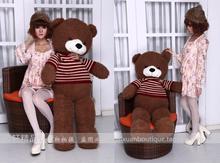 huge bear toy plush toy stuffed bear toy teddy bear stripe cloth bear dark brown about 130cm