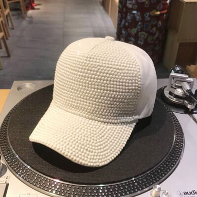 Women's Hats Women's Baseball Caps New Arrival Girls Summer Cotton Caps With Pearl And Diamonds High Quality Shining Manural Drill Womens White Baseball Cap Sy568