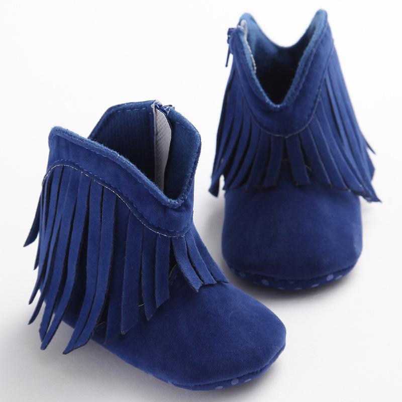 f422958a84b4 Moccasin Moccs Newborn Baby Girl Boy Kids Prewalker Solid Fringe Shoes  Infant Toddler Soft Soled Anti-slip Boots Booties 0-1Yea