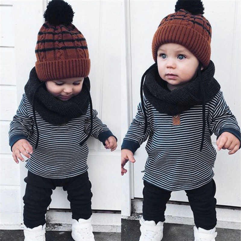 Cool Baby Girls Boys Kids Warm Sweatshirt Tops+Pants 2pcs Outfits Tracksuit
