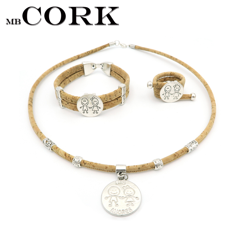 Cork Jewelry: MB Cork Boy And Girl Lovely Jewelry Set Cork Natural Color