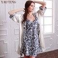 YT088 2016 Fashion Sexy Blanco Y Azul de Las Mujeres Robes Impreso, Venta Caliente Tres Cuartas Partes sin Mangas Elegante de Dos conjuntos batas Para El Verano