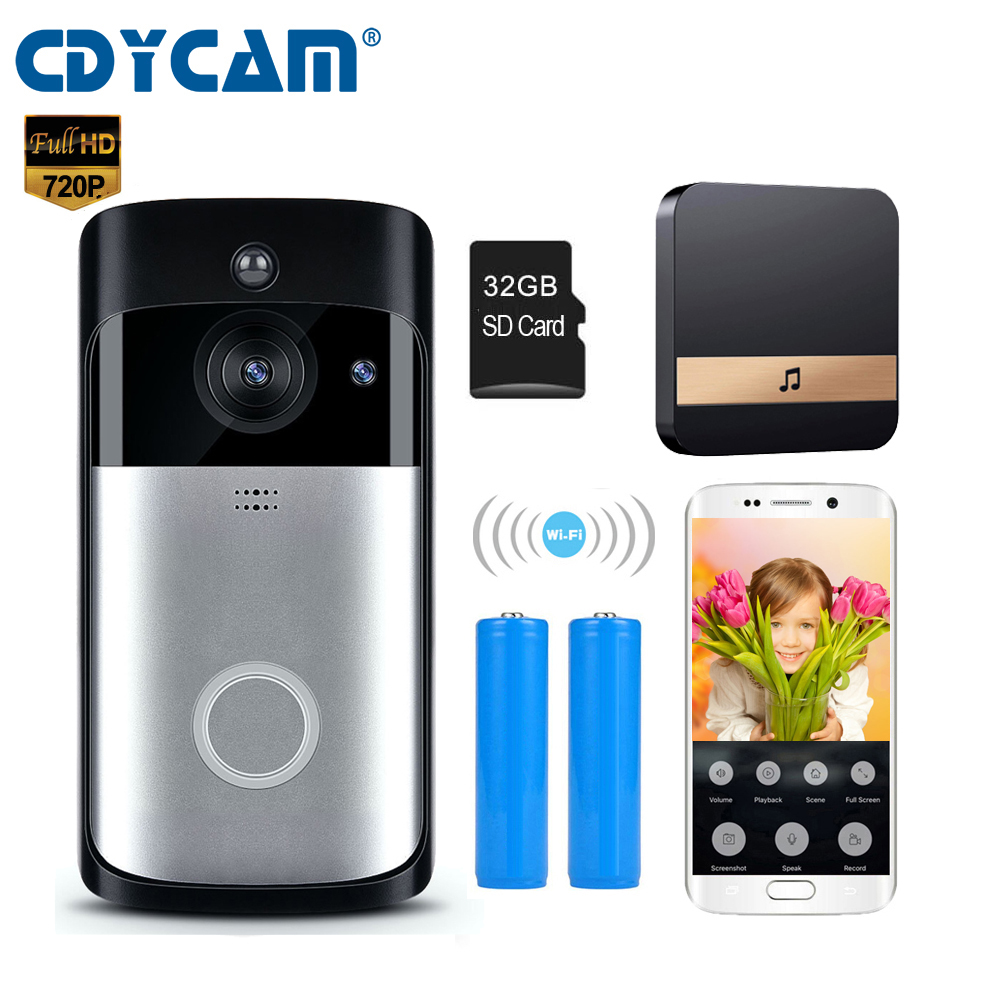 CDYCAM WiFi Wireless Security DoorBell Camera 720P Visual Intercom Recording Video DoorPhone Remote Home Monitoring Night