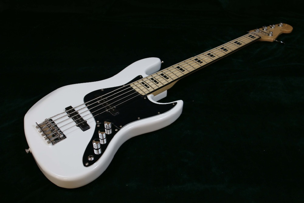 quality white 5 string bass passsive pickups black rectangle inlay electric bass guitar guitarra. Black Bedroom Furniture Sets. Home Design Ideas