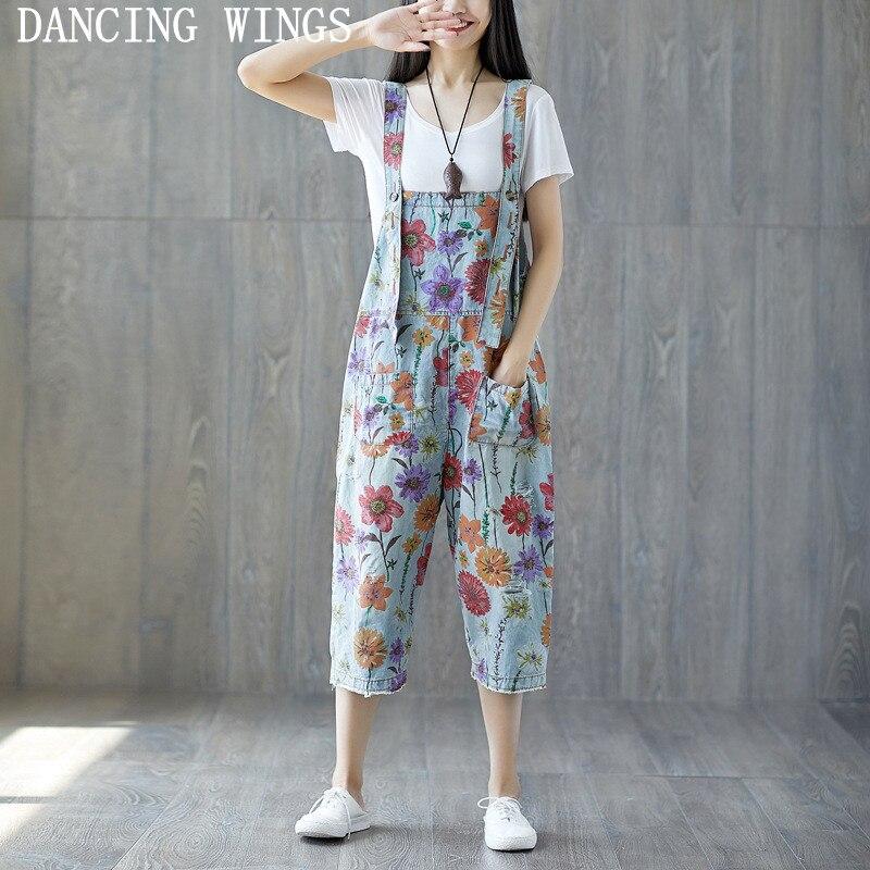 Printemps été femmes lâche décontracté déchiré Jeans combinaisons longueur de veau dames Floral imprimé pantalon salopette pour les femmes